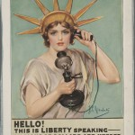 "Z. P. Nikolaki. ""Hello! This is Liberty speaking."" 1918. Lithograph. 30.5 x 22.5 cm."