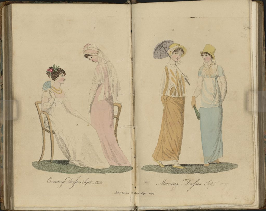 "Fashion plates from ""The Ladies' Monthly Museum"" (London, 1804)."