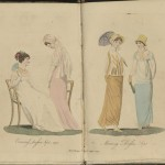 """Fashion plates from """"The Ladies' Monthly Museum"""" (London, 1804)."""
