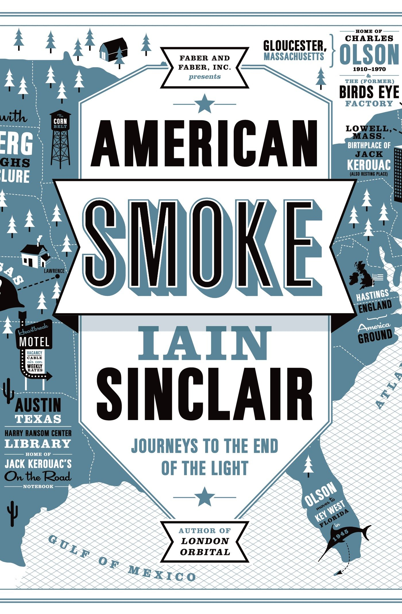 "Cover of Iain Sinclair's new book ""American Smoke."""