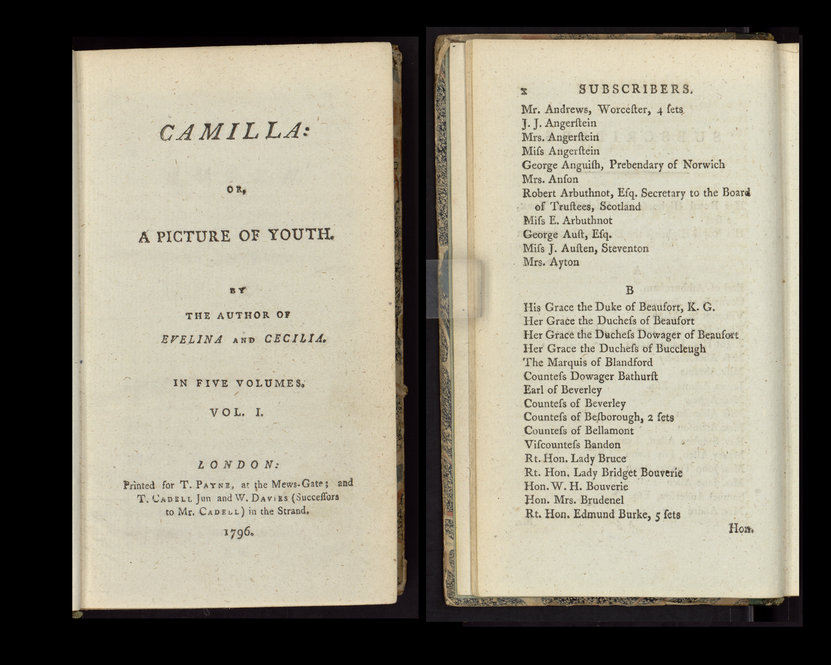 """Frances Burney's """"Camilla: or, A picture of youth"""" (London, 1796)."""