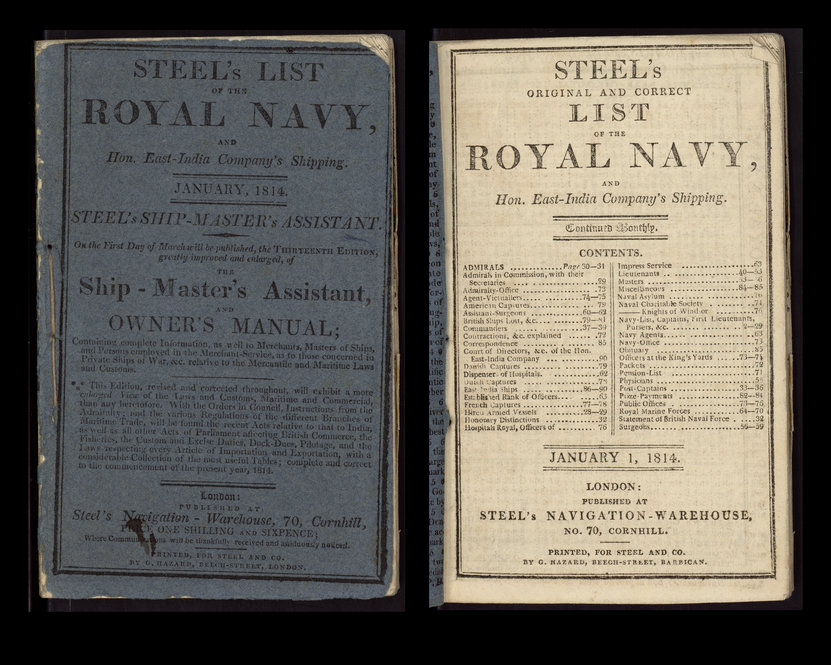 "David Steel's ""Original and Correct List of the Royal Navy,"" Improved (London, 1814)."