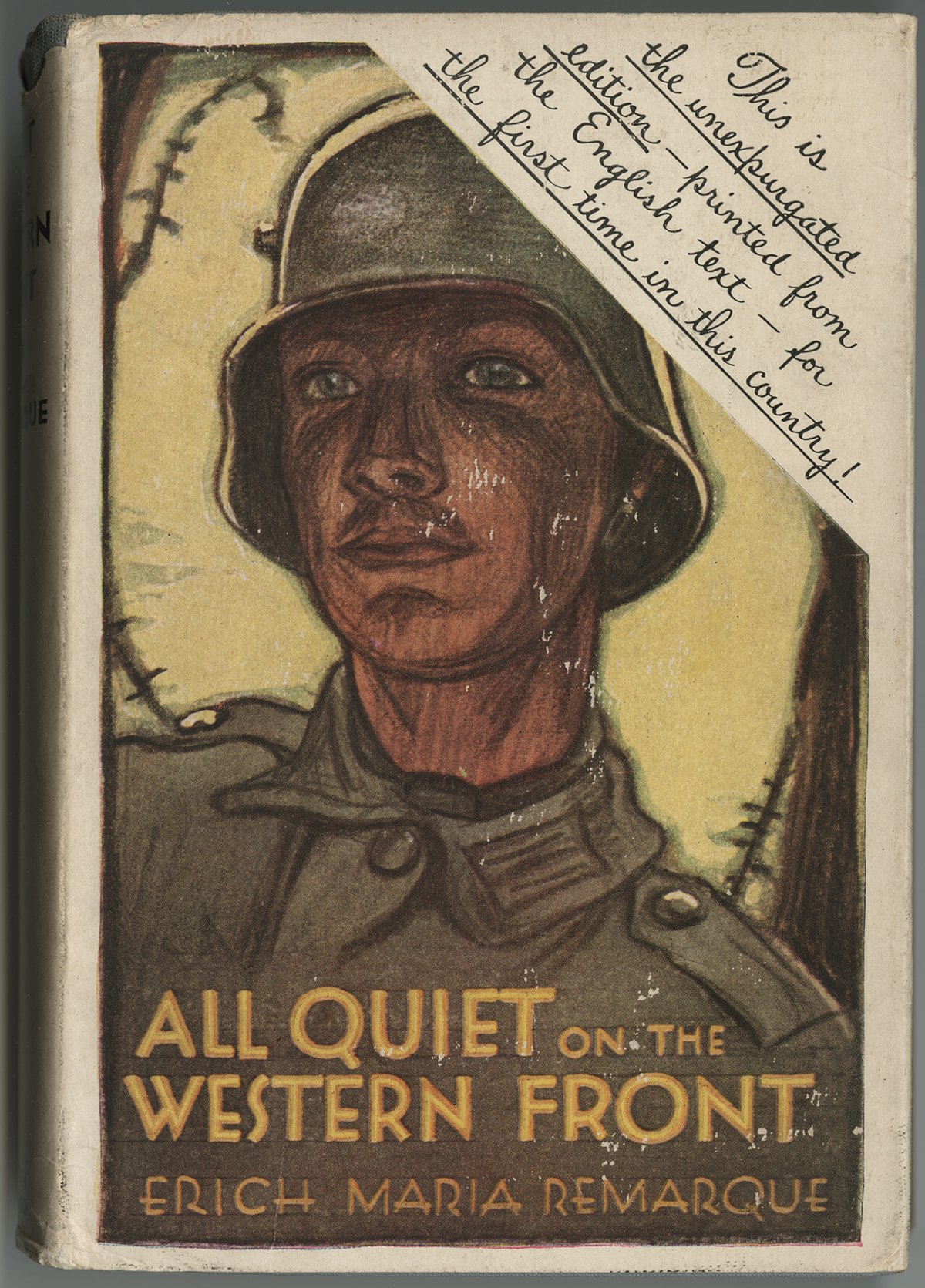 Tomorrow In The Theater All Quiet On The Western Front The Book Jacket Of The Unexpurgated American Edition Of Erich Maria  Remarques All Quiet On