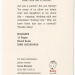 "Back of promotional postcard for Lisa Brown's ""Baby mix me a drink."""