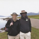 "Ian McEwan and Julian Barnes on a hike in Knoydart, Scotland, in 2012, wearing ""midgehoods"" for protection. Photo by Annalena McAfee."