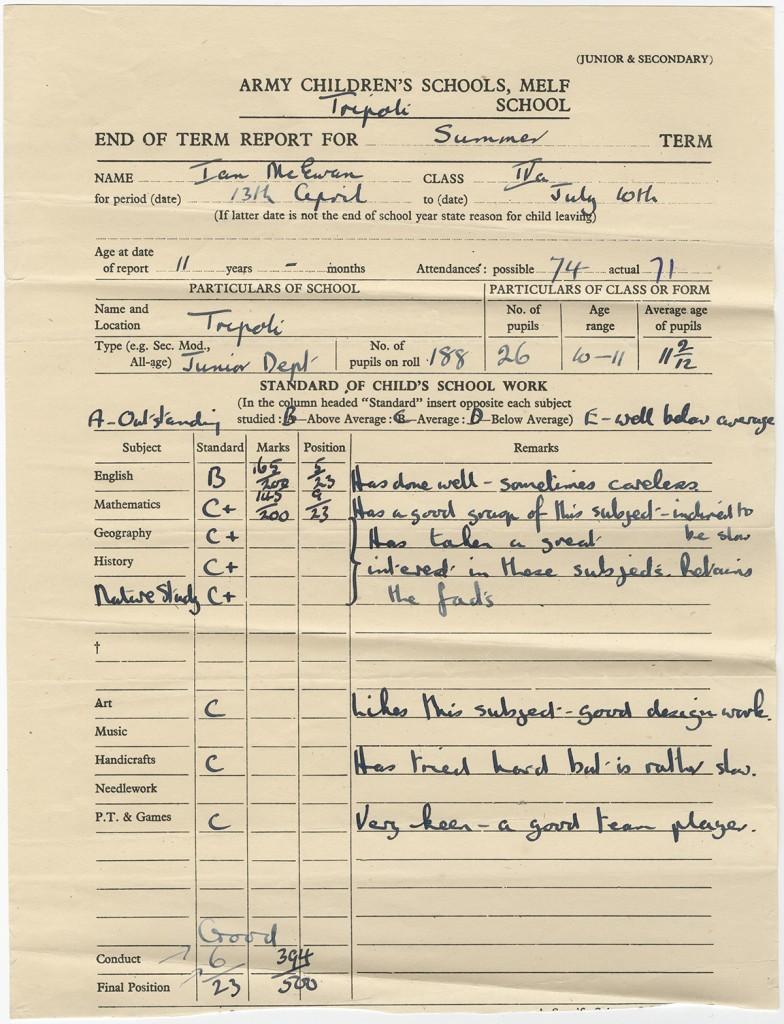 Ian McEwan's grade school report card, ca. 1958.