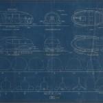 """Norman Bel Geddes. """"Motorcar No. 9 Blueprint."""" Ca. 1932."""