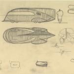 "Norman Bel Geddes. ""Motorcar No. 9 composite drawing."" Ca. 1932."