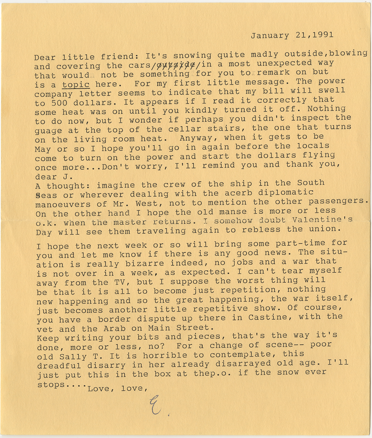 Letter from Elizabeth Hardwick to Jon R. Jewett, dated January 21, 1991. Copyright © 1991 The Elizabeth Hardwick Estate, used by permission of The Wylie Agency LLC.