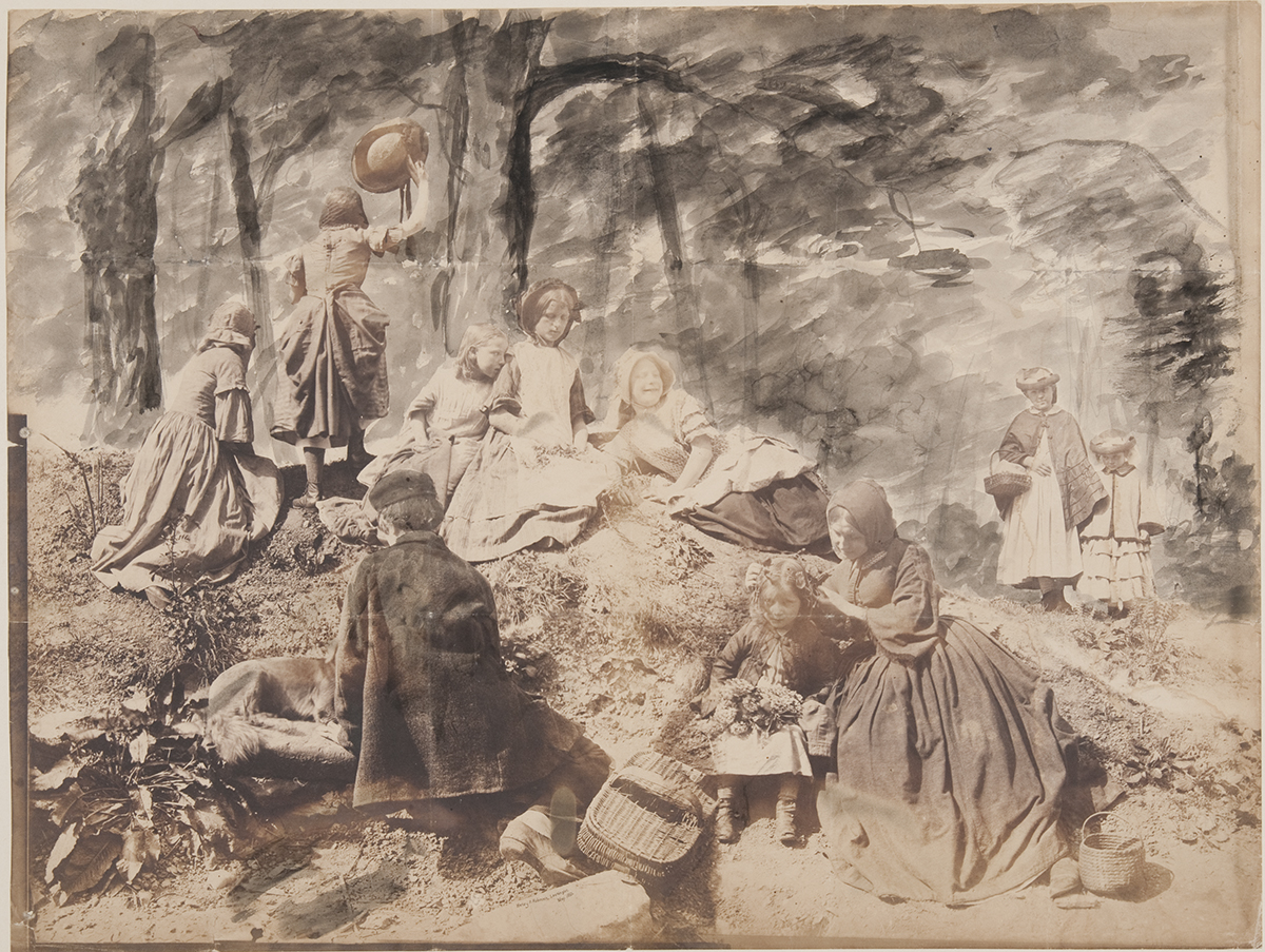 "Henry Peach Robinson, Study for ""A Holiday in the Wood,"" salted paper print with applied graphite and watercolor, May 1860."