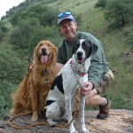 Watson with his dogs, Parker and Riley, in the Davis Mountains. Photo by Cyndee Watson.