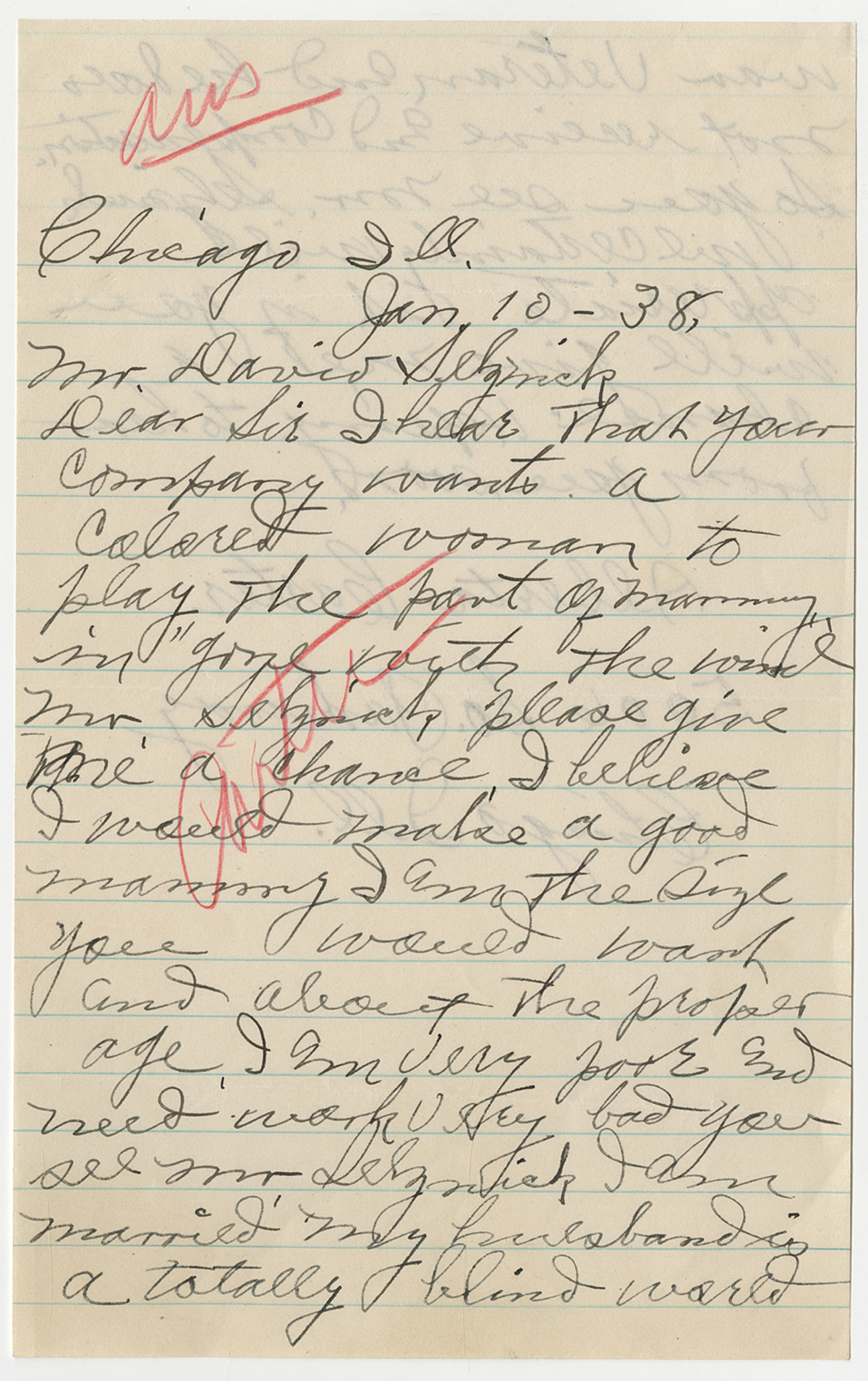 "Alberta Carter of Chicago, Illinois, writes in January 1938 to ""Gone With The Wind"" producer David O. Selznick, asking him to consider her for the role of Mammy in the film."