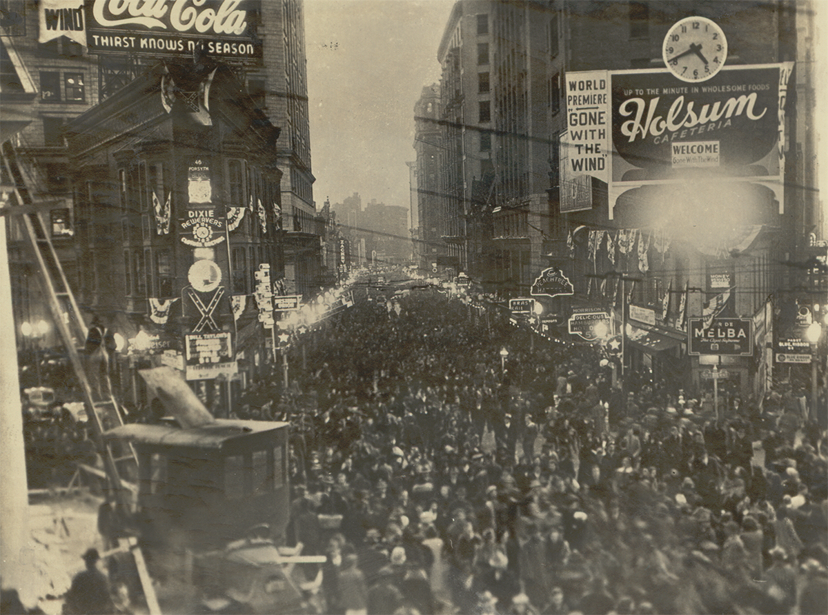 "Crowds gather for the parade in Atlanta for the premiere of ""Gone With The Wind."""
