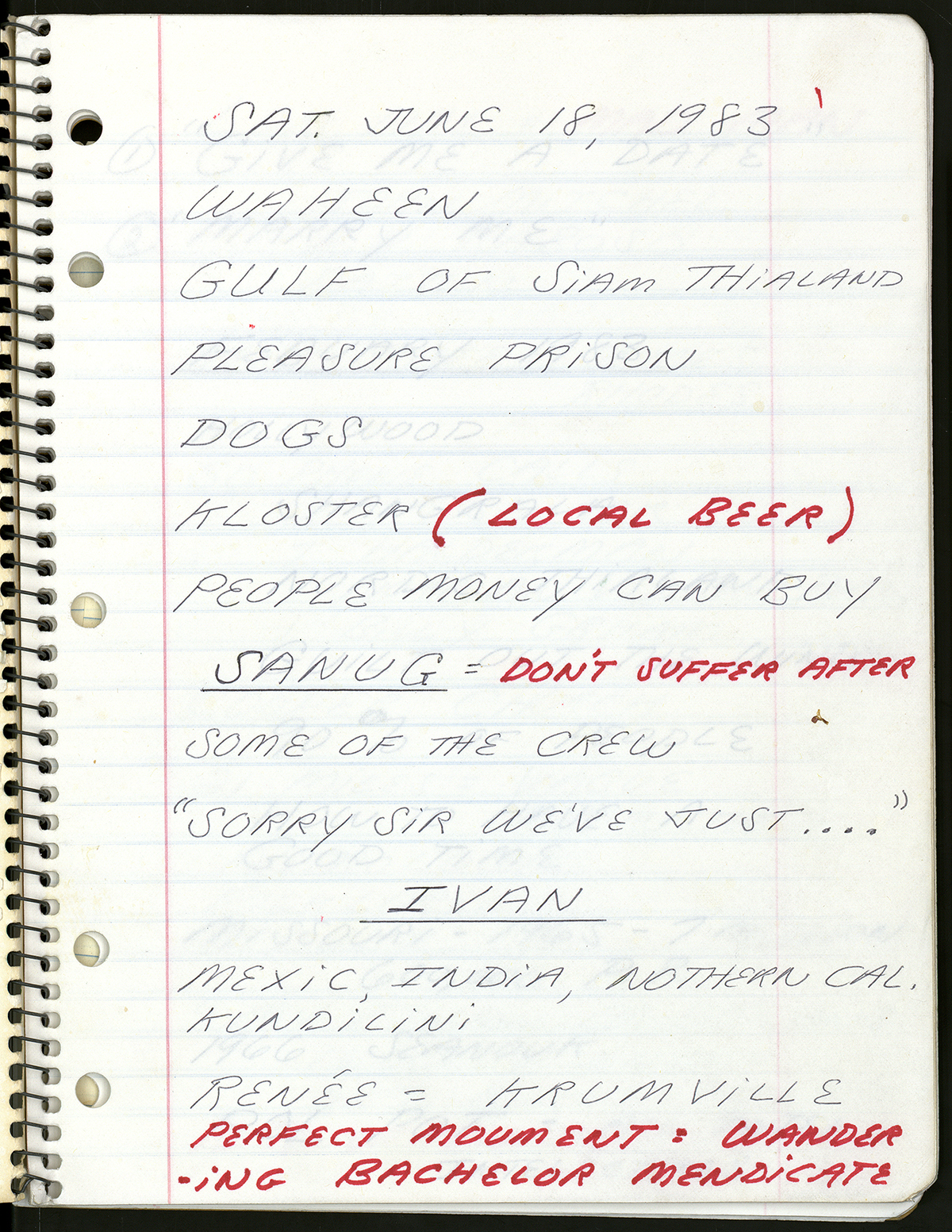 Page from Spalding Gray's performance notebook for 'Swimming to Cambodia.'