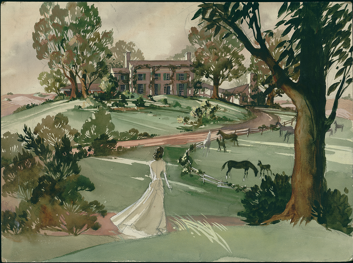 "Concept painting of Scarlett O'Hara at Tara in ""Gone With The Wind."""