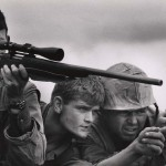 "David Douglas Duncan. ""U.S. Marine snipers work closely in three-man teams."" Khe Sanh, Vietnam, February 1968."