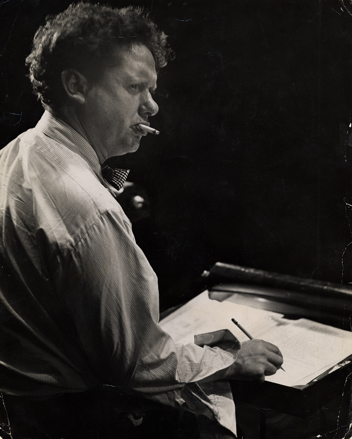 Photo of Dylan Thomas by Rollie McKenna, ca. 1953.