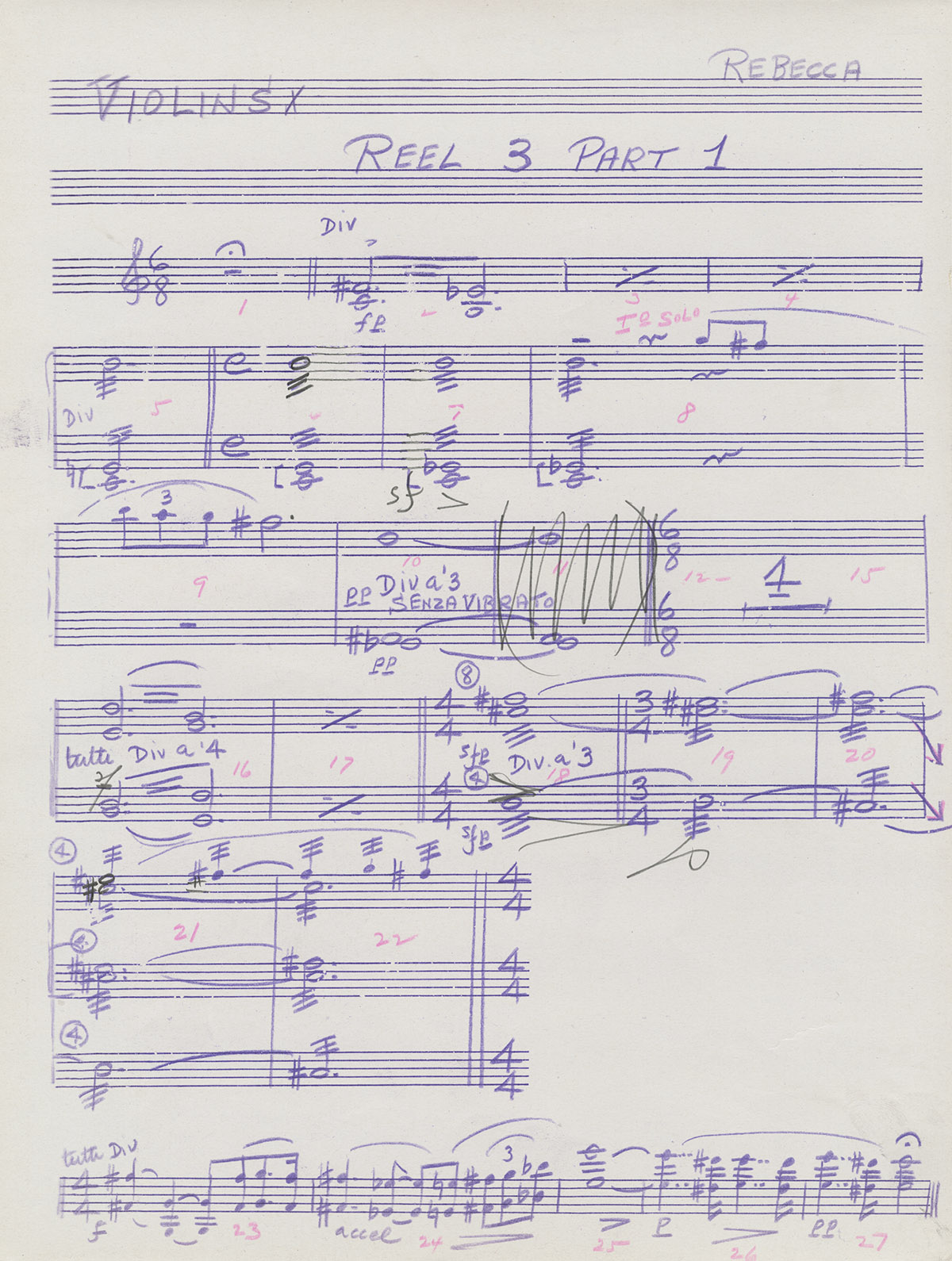 "Manuscript of violin score from ""Rebecca"" by Franz Waxman from the David O. Selznick collection."