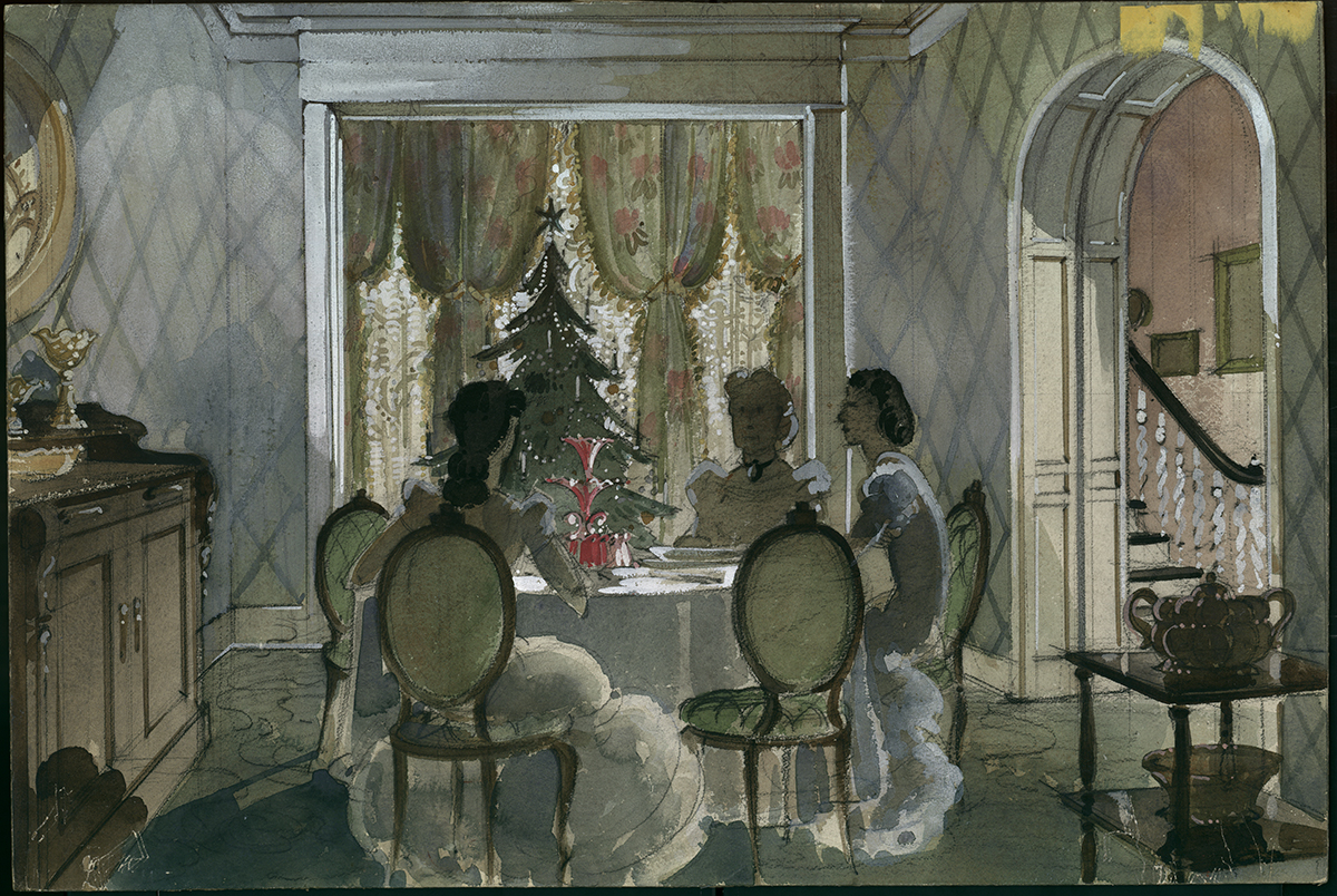 "Scene concept for ""Christmas at Aunt Pittypat's in Atlanta"" in ""Gone With The Wind."""