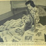 "Mildred Blount with her collection of ""Harper's Bazaar"" magazines, from ""Mildred Blount Fashions Bonnets to Fit the Face,"" ""Ebony,"" (April 1946), 20-22."