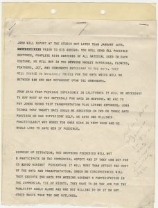 Memo dated January 9, 1939 from Katherine Brown to David O. Selznick, detailing Frederics's logistical and financial preferences for the agreement.