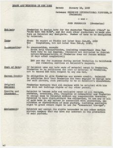 Summary of legal contract between Selznick International Pictures and John Frederics, dated January 13, 1939.