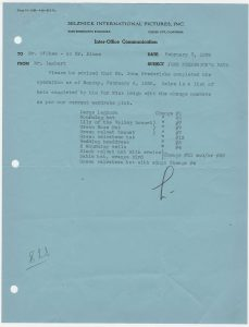 SIP memo listing completed Scarlett O'Hara hats, dated February 7, 1939.