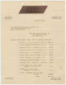 Invoice dated March, 6, 1939 with expenses for twelve hats, which would be one source of dispute between John Frederics, Inc. and SIP. Note John Frederics, Inc. fabric label as letterhead.