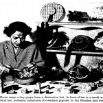 "Mildred Blount fashioning miniature hats, from ""Bonnet Parade,"" ""Los Angeles Times,"" (April 9, 1950), H21."