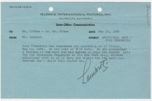 SIP memo concerning Frederics's second trip to Los Angeles, indicating that he will complete the remainder of hats in New York, dated May 13, 1939.