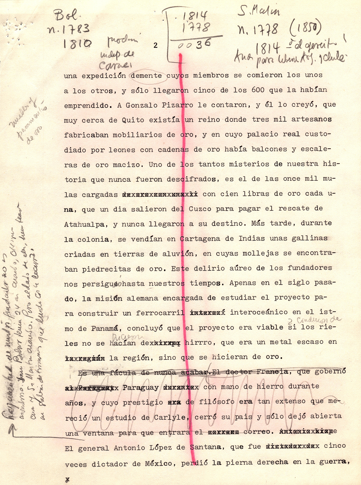 Gabriel García Márquez's first draft of his Nobel Prize acceptance speech.
