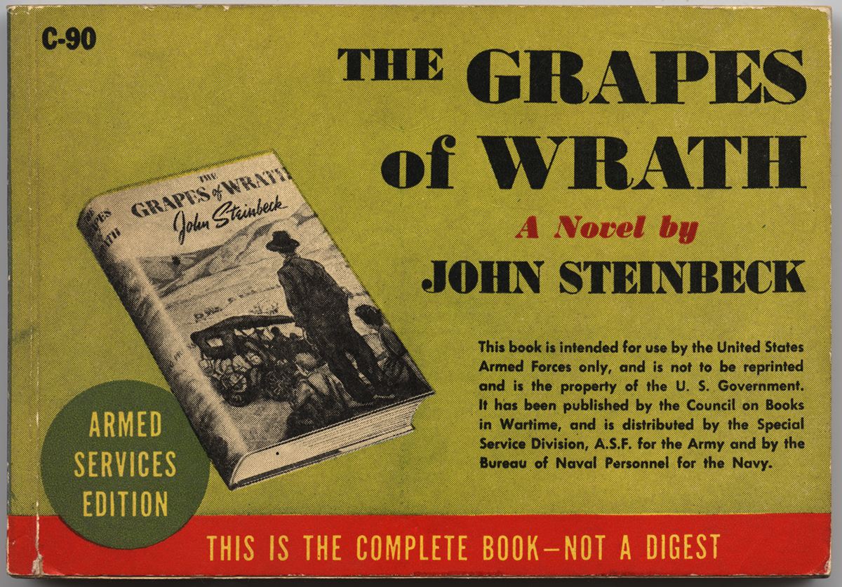 "Cover of Armed Services Edition of John Steinbeck's ""The Grapes of Wrath."""