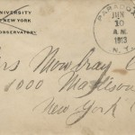 The Columbia University return address on the envelope is probably accounted for by the fact that Howard's younger brother Walter attended Columbia and did graduate work in astronomy before becoming a practicing mechanical engineer. Howard perhaps found a cache of his brother's old envelopes and made appropriate use of them.