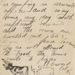 "Final page of letter of June 10, 1913, in which Howard Kretz mentions his fear that the resort camp's cows will be ""insulted [by his mother's new fence] and tear down the fence because they are not allowed to tread the tennis courts to pieces."" He closes with his signature and a sketch of two presumably insulted cows. The letters in this 1913–1916 group are all signed ""Howard Col Kr"" or ""Howard C K,"" so his practice of identifying himself as Howard Kretz Coluzzi was evidently still in the future."