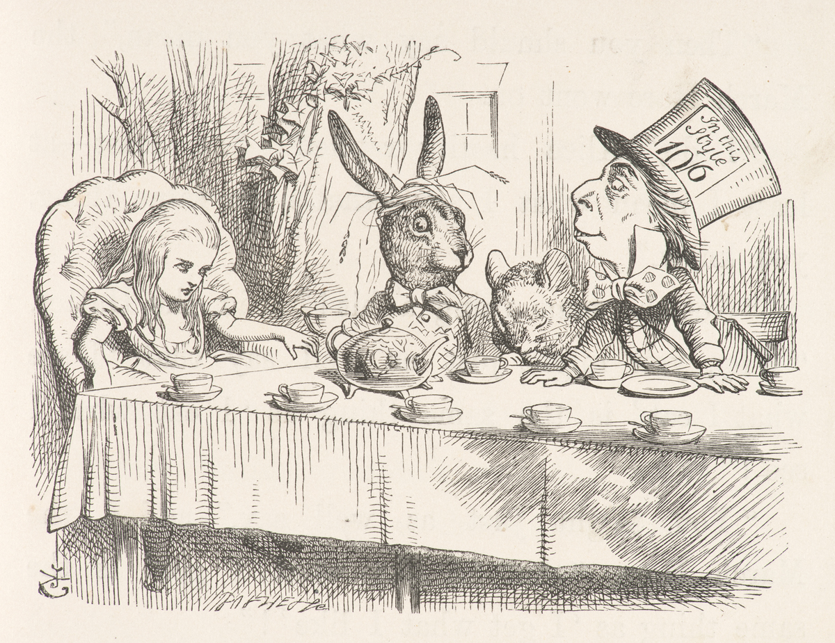 "John Tenniel's illustration of the ""mad tea-party"" from the first published edition of Lewis Carroll's ""Alice's Adventures in Wonderland."""