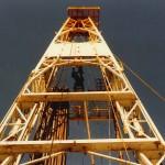 Drilling rig near Sierra Blanca, Texas. 1981. Photo by Ken Grant.