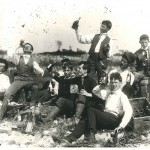 """""""Drinking party."""" Modern gelatin silver print from vintage negative. Glass plate negative circa 1890. Printed in 1994 by Ken Grant."""