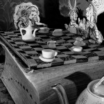 Abelardo Morell, A Mad Tea Party, from the series Alice in Wonderland, 1998; 2014. Inkjet print, 22.5 x 18 in. Image appears courtesy of the artist and Edwynn Houk Gallery, New York. © Abelardo Morell