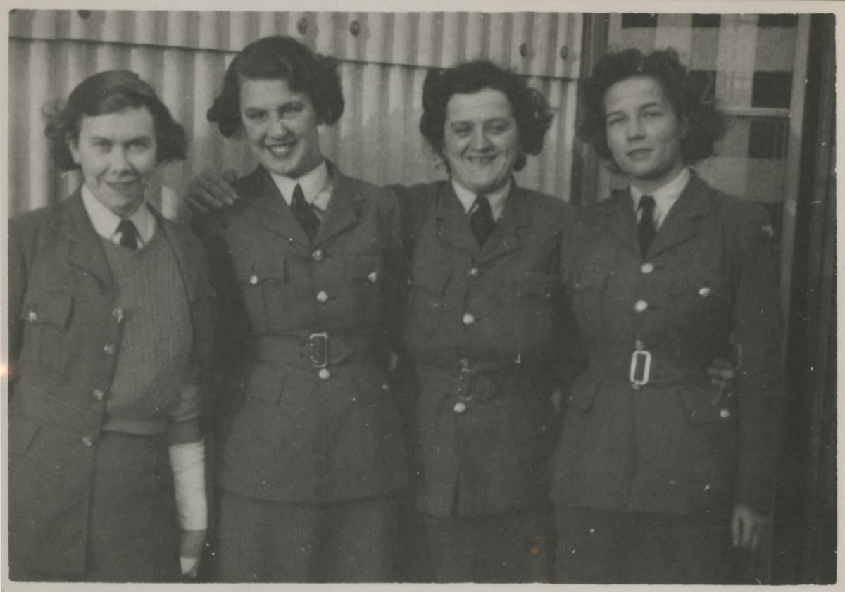 Christine Brooke-Rose in her WAAF uniform before she went to Bletchley Park. She is on the right, shown with three other women.