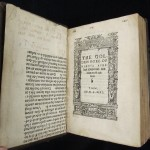 'The golden boke of Marcus Aurelius' by Antonio de Guevara, London, 1546. One image shows the title-page with the facing page made up of printed binders's waste, complete with hand-written annotations. The close-up image shows both printed and manuscript binders waste.