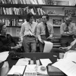 Katharine Graham, Carl Bernstein, Bob Woodward, Howard Simons and Ben Bradlee discussing stories in Bradlee's office. © Mark Godfrey.