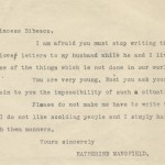 Letter from Katherine Mansfield to Princess Elizabeth Asquith Bibesco, March 24, 1921, Katherine Mansfield collection, 1834-1969