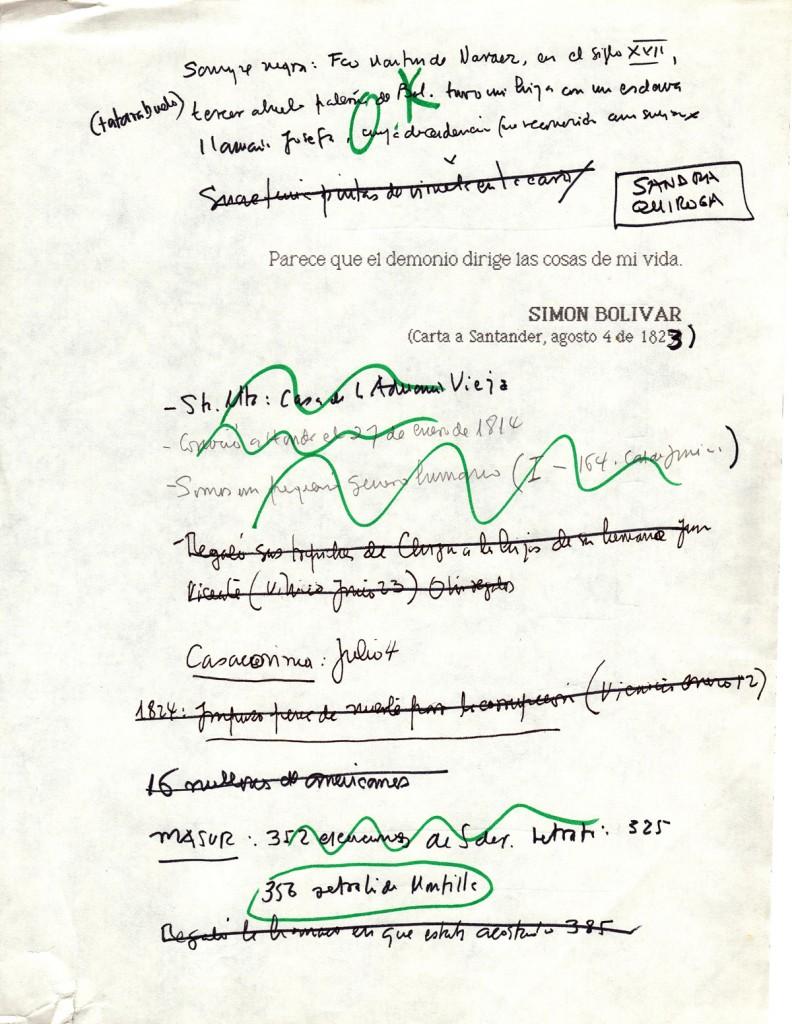 """Gabriel García Márquez's notes for """"The General in His Labyrinth.""""/Apuntes de Gabriel García Márquez para """"El general en su laberinto""""."""