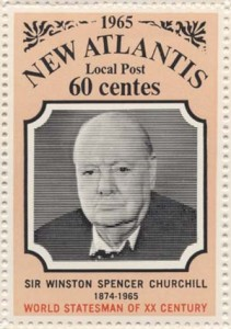 "New Atlantis stamp from 1965 for 60 Centes, honoring Sir Winston Churchill, ""World statesman of the XX Century."" New Atlantis collection."