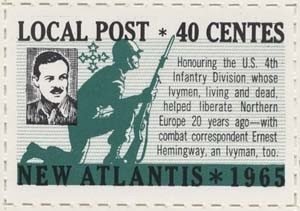 New Atlantis stamp from 1965 for 40 Centes, honoring the US 4th Infantry Division. New Atlantis collection.