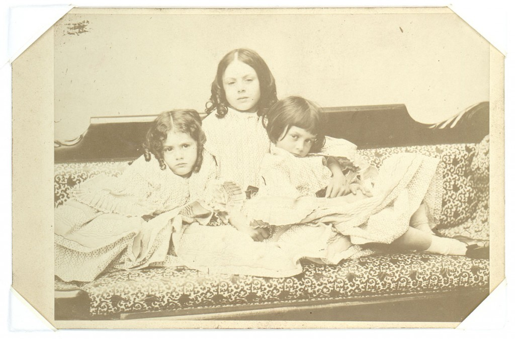 Lewis Carroll (Charles Lutwidge Dodgson), [Edith, Lorina, and Alice Liddell], 1858. Albumen print (cabinet card), 4 x 5.5 inches. Gernsheim Collection, Harry Ransom Center.