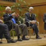 """Steven Isenberg, right, moderates the panel """"A Conversation with Norman Mailer"""" with Lawrence Schiller, Norman Mailer, and Gay Talese."""