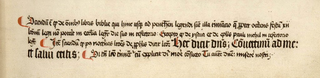 Manuscript note, with monastic instructions; the Gutenberg Bible.
