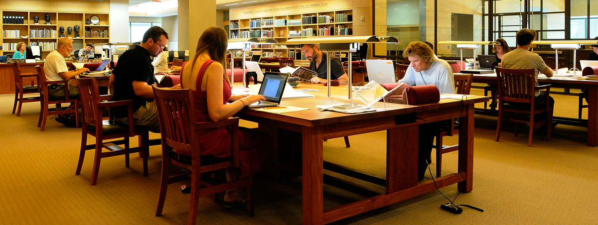 Researchers in the Harry Ransom Center's Reading Room. Photo by Anthony Maddaloni.