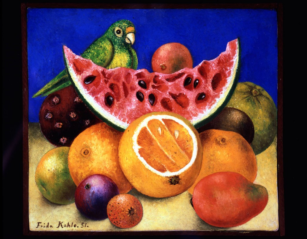 Frida Kahlo, Still Life with Parrot and Fruit, 1951. © 2014 Banco de México Diego Rivera Frida Kahlo Museums Trust, Mexico, D.F. / Artists Rights Society (ARS), New York
